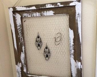 Farmhouse reclaimed pallet wood framed jewelry holder