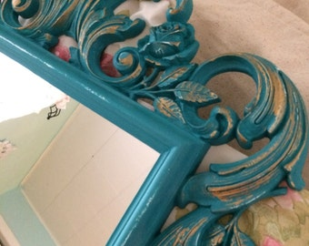 FREE SHIPPING Large Vintage mirror turquoise baroque decorative frame