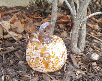 Blown glass pumpkin - winter theme
