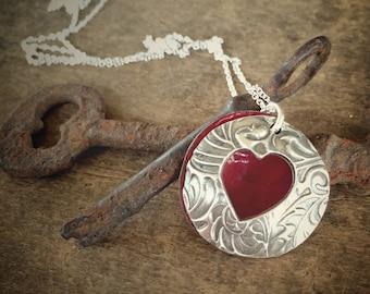 Fine Silver, Red Enamel Heart Locket Pendant