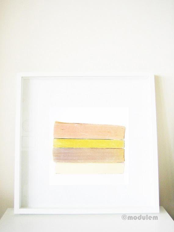 Minimalist Scandinavian Print - Grey Pink Ivory Yellow - Vintage books photo, greyish, modern, faded pastels, boho, bohemian, 8x8