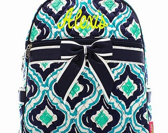 Personalized Geometric Print Quilted Backpack - Navy, Green, & Aqua Print Booksack or Diaper Bag Monogrammed FREE