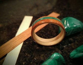 Hand Made Beech & Spanish cedar with an offset Malachite Inlay Stone wooden ring