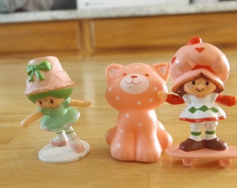 Vintage Strawberry Shortcake on Skate Board / Lime Chiffon Ballerina / Custard the Cat / Plastic Figures 80's