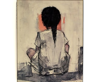 Mid Century Print - Kristina by Christian Bjorn Larsen 1969, by Minerva Reproductions, mounted on board with a box frame