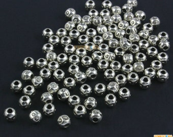 100Pcs Antique Silver Round Bead Round Bead Spacer For Jewerly 5mm (PND1472)