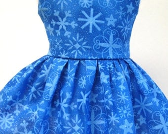 Snow on Blue, Winter and Holiday Dress