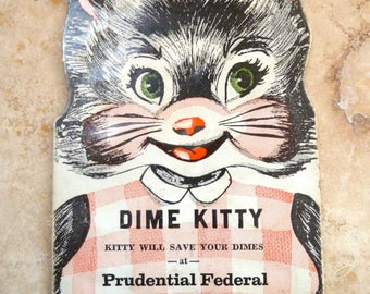 Vintage Dime Kitty Coin Saving Bank Promotional Advertisement