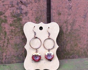 Glass Czech Chunky Flower Earrings