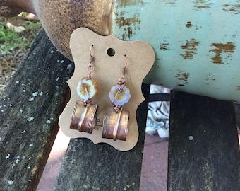 Lilac Pink Pansie Copper Earrings, Boho Rustic Earrings, Handmade Earrings