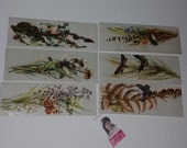 6 Victorian bookmark set  flowers floral antique illustrations ephemera old paper art supplies vintage scrap B15