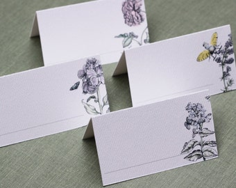 EnglishGarden Place Cards,Garden Wedding decor, Bridal Shower place cards, assorted set of 12
