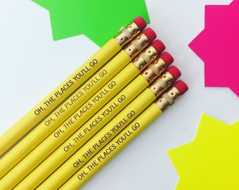 Oh the places you'll go 6 engraved pencils. grad gift. affordable and inspiring.