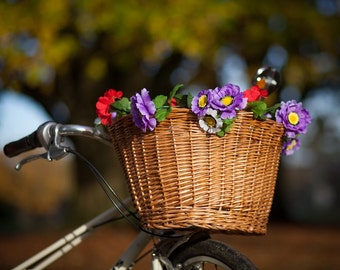 Bike basket garland with reflective Petal Brites