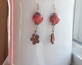 Coral Pink Earrings Wood Daisy Flower Silver Earrings