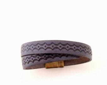 Charcoal Diamond Double Leather Wrap Bracelet. Magnetic Clasp