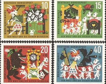 The wolf and the seven little kids - Grimm Fairy Tales - 1963 FRG Stamp - 1 set - 4 Sheets