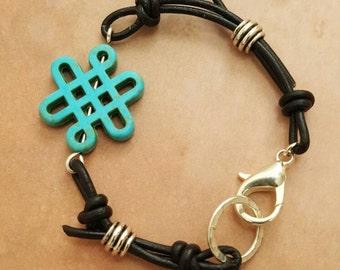 Celtic Knot Turquoise/Magnesite Black Leather Bracelet