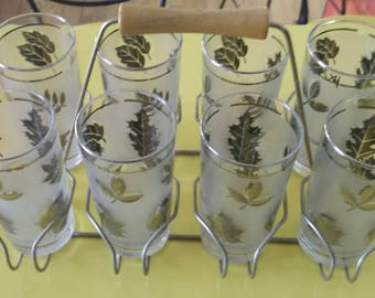 Libbey Gold Leaf Tom Collins 8 piece Glassware Bar Set w Holder