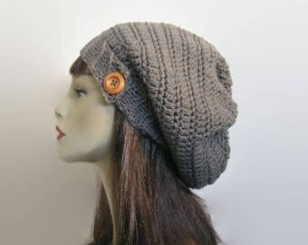 Crochet Gray Slouchy Hat with Button taupe slouch Beanie Gray Slouch Cap Crochet Gray Tam Gray Knit Beanie Gray slouchy Tam gray beanie