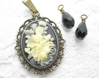 Ivory and Black Floral Cameo Pendant with Jet Black Bead Charms