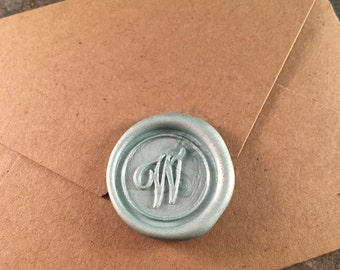 Script W monogram wax seal stickers