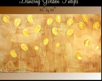 "2DAY SALE ORIGINAL 36""Abstract Acrylic gallery canvas-Contemporary Modern Golden Dancing Tulips painting by Nicolette Vaughan Horner"