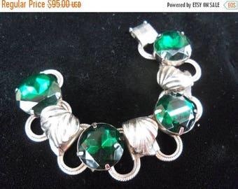 On Sale 1940's Vintage Bracelet Big Bold Beautiful Green Headlight Rhinestones 1950's Rockabilly Mad Men Mod Accessories Hollywood Regency