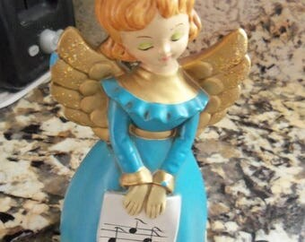 On Sale Adorable Cherub Cute Angel 1960's Collectible Doll Figurine Aqua & Gold Musical Notes