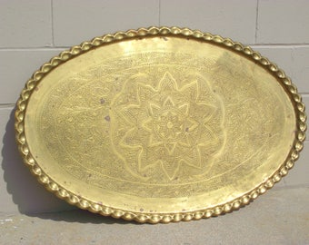 """Huge 46"""" Brass serving Tray Table Top Oval Etched Coffee Table Wall Hanging - Hammered Foliage Design Middle Eastern Decor India Persian"""