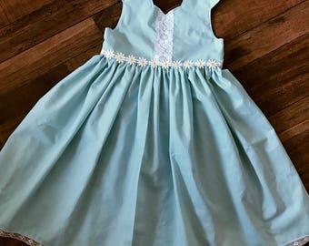 Daisy dress - aqua blue dress with lace accent down front bodice, embroidered daisy trim around waistline - princess neckline & deep scoop