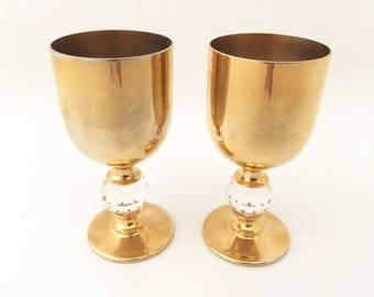 Brass Shot Glasses with Crystal Ball - Vintage Shot Glass Crystal Fortune Teller Liquor Glasses Fortune Telling Communion Gift Brandy Glass