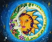 Sun and moon, art, tattoo, celestial, quotes, mosaic, wall decor, mexican art, sun and moon quotes, sun moon wall hanging, tiles, blue, sky