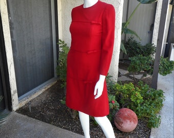 Vintage 1960's Lanz Originals Red Wool Dress - Size 4