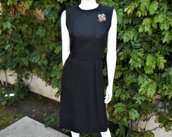 Vintage 1960's Black Sleeveless Dress - Size 6/8