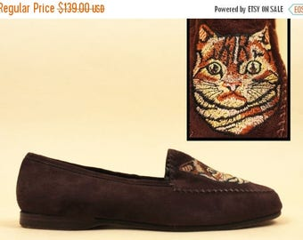 25% OFF 80s rare Vtg Embroidered TABBY Cat Genuine All Leather NUBUCK Slip On Loafer Flats / Cocoa Brown Shoes Made in Italy / 9.5 10 Eu 41