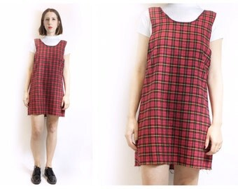 Red Plaid Pinafore Dress OOAK