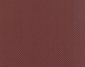 15% off thru 2/22 Moda fabric by 1/2 yard SONGBIRD Primitive Gatherings- bark brown squares on red- 1163 18