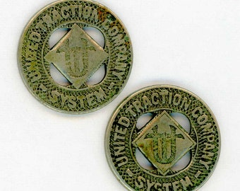 2 Vintage Transit Tokens ~ United Traction Company System ~ Good for One Fare