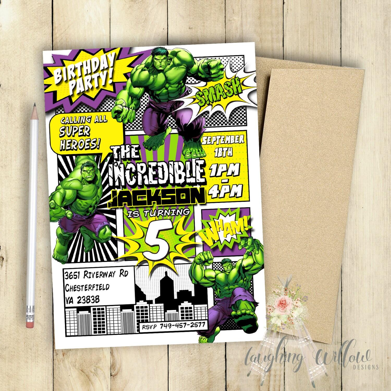 Incredible Hulk Invitation Incredible Hulk Birthday Party