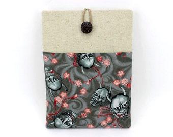 iPad Pro Sleeve, Gadget Cover, Kimono Tablet Sleeve, Skull Cherry Blossoms Grey