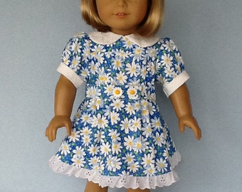 18 inch doll dress and hair clip. Fits American Girl Dolls. Blue Daisy dress with white contrast.