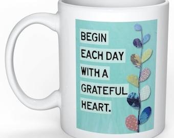 Grateful, Grateful Heart, Grateful Coffee Mug, Positive Saying, Good Morning, Good Eneregy, Joy