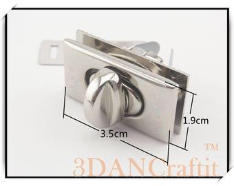 Rectangle Purse Twist lock turn lock  nickel  1246
