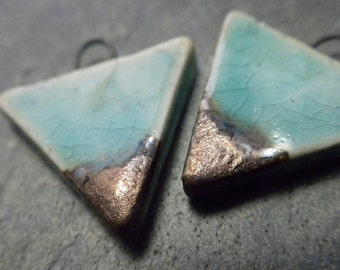 Horizon- handmade ceramic tribal triangle bead pair earring charms aqua metallic gold 3731