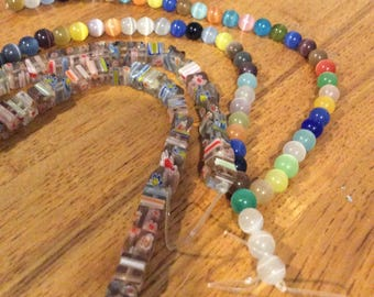4 strands lampwork and moonstone beads DESTASH