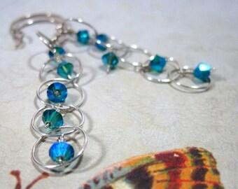 Silver Dangle Earring, Bubble, Blue Zircon AB2x Swarovski Elements Crystal Sterling Wedding Teal