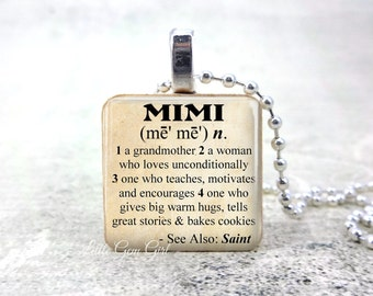 Mimi Dictionary Definition Neckalce Pendant  - Mimi Quote Jewelry for Mothers Day Grandmother gift from Grandkids