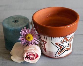 Terracotta Pottery, Star Candle Holder, Terracotta planter, Wheel thrown pottery, earthenware planter, handmade clay planter, Utensil Holder