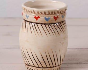 Hand Painted Vase, Flower Vase, Bud Vase, Wheel Thrown Vase, Handmade Vase, Wheel Thrown Pottery, Heart Vase, Stoneware Jar, Handmade Vase